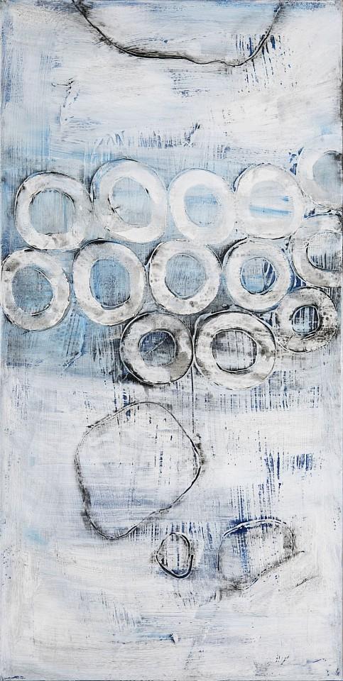 Connie Lloveras, Rocks & White Circle 2015, mixed media on canvas