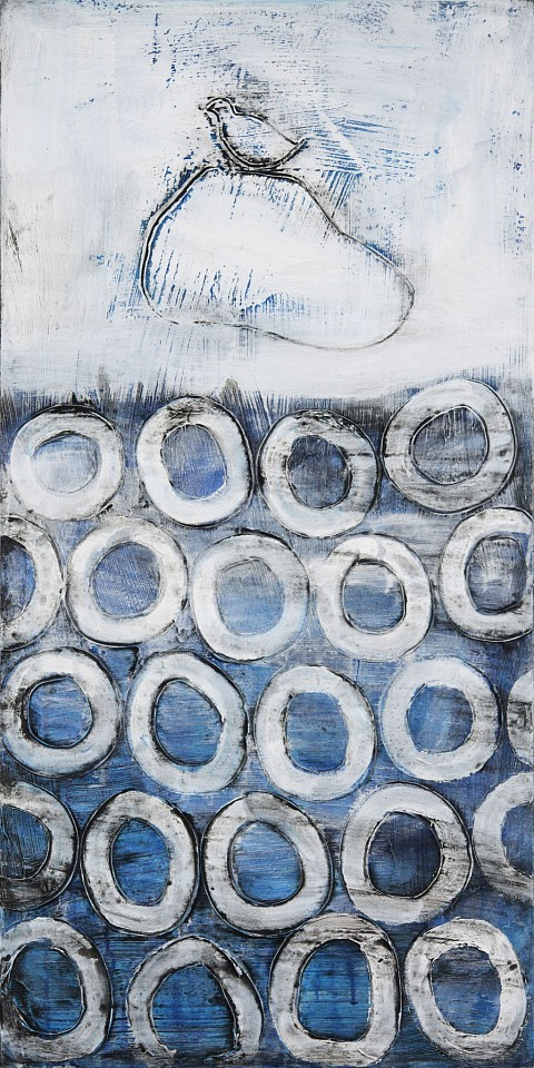 Connie Lloveras, Bird on Rock & White Circles 2015, mixed media on canvas