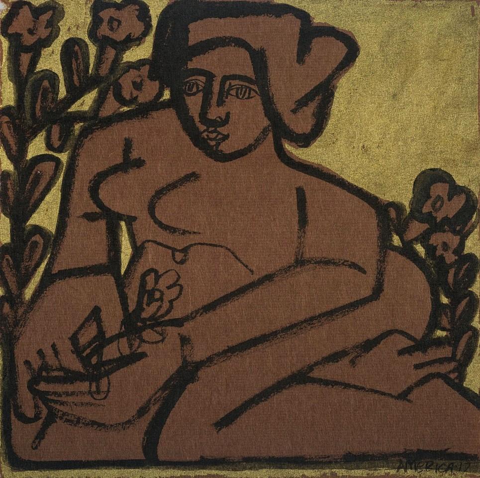 America Martin, Woman & Garden Flowers 2017, ink on paper