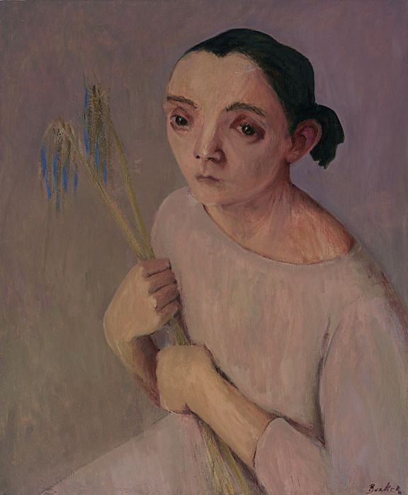 Haidee Becker ,   Hrydia with Agapanthus flowers  ,  2005     oil on canvas ,  29