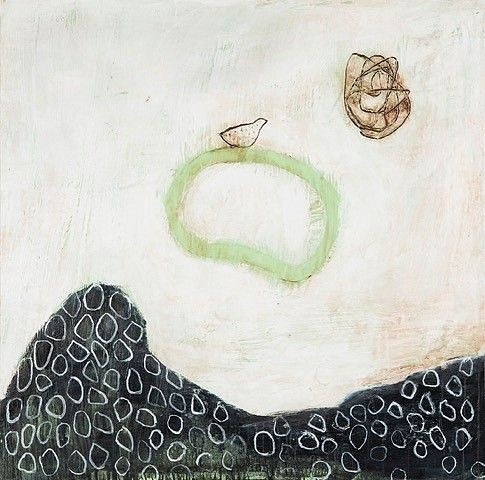 Connie Lloveras ,   Bird on Green Ferny Rocks and Scribble  ,  2016     mixed media on canvas ,  48 x 48 in. (121.9 x 121.9 cm)     CLL 06     Price Upon Request