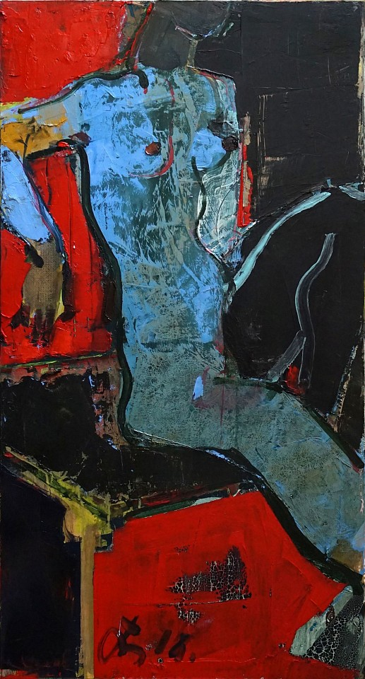 Serhiy Hai ,   Seated Figure, (Red, Black, & Blue)  ,  2015     Oil & Acrylic on canvas ,  48 x 24 in. (121.9 x 59.7 cm)     SY 100     Price Upon Request