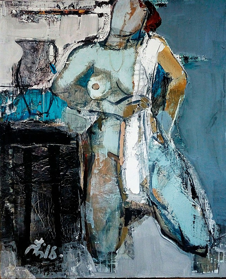 Serhiy Hai, Woman with Towel and Vase 2017, Oil & Acrylic on canvas