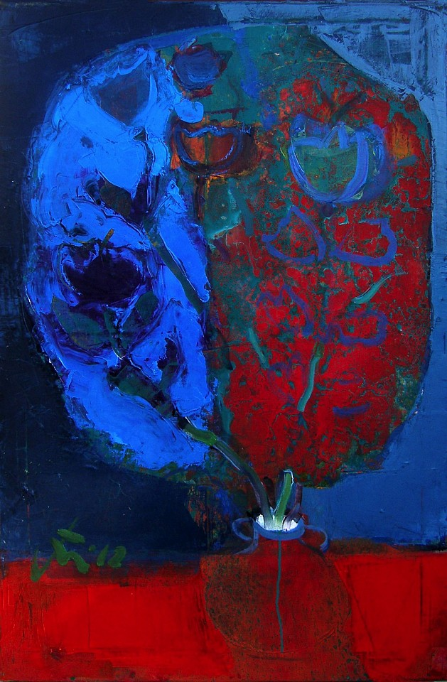 Serhiy Hai ,   Blue & Red Flowers  ,  2012     Oil and acrylic on canvas ,  47.25