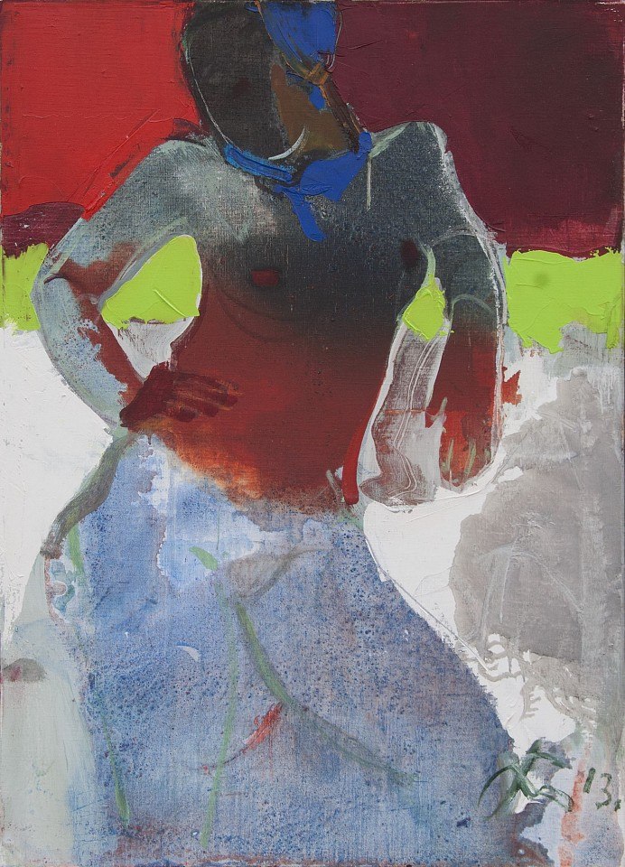Serhiy Hai ,   Nude with Transparent Red Top  ,  2013     Oil and acrylic on canvas ,  43.25