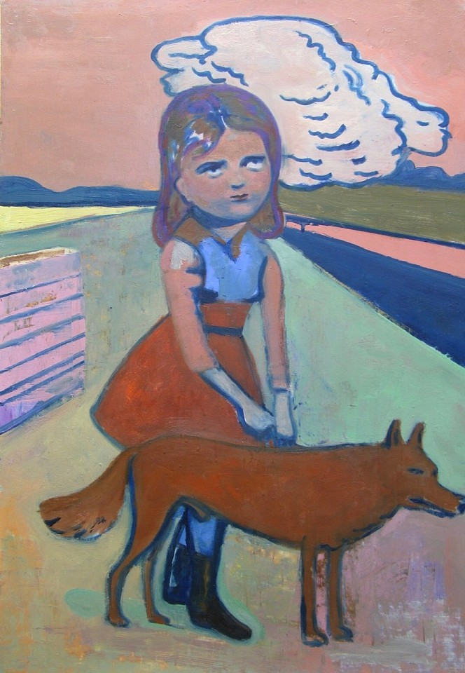 Stephanus Heidacker ,   Girl with Dog  ,  2012     oil on paper ,  27 1/2 x 19 1/2 in.     STEPH - 344     Price Upon Request