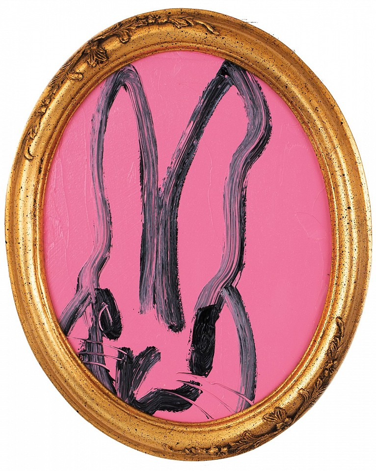 Hunt Slonem, Untitled /Pink Bunny in Round Frame 2018, oil on wood