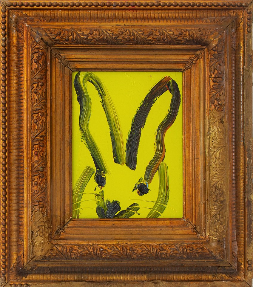 Hunt Slonem, Untitled /Lime Yellow Bunny 2018, oil on wood