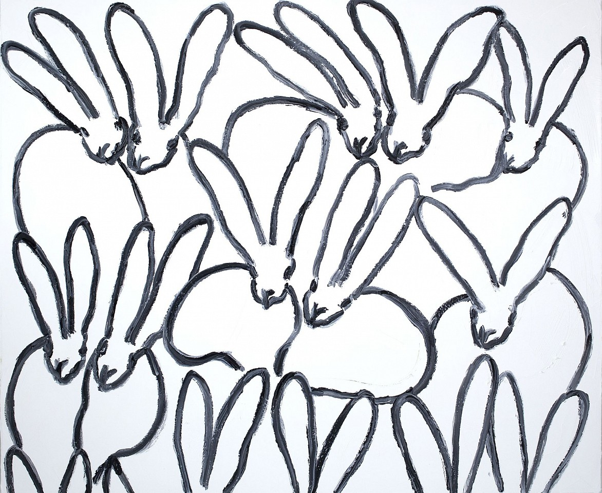 Hunt Slonem, Untitled/ Black & White Bunnies 2018, oil on canvas