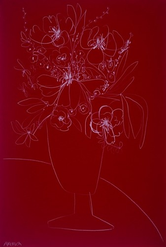 Exhibition: America Martin Solo-Show, Work: Flowers on Red Paper, 2019